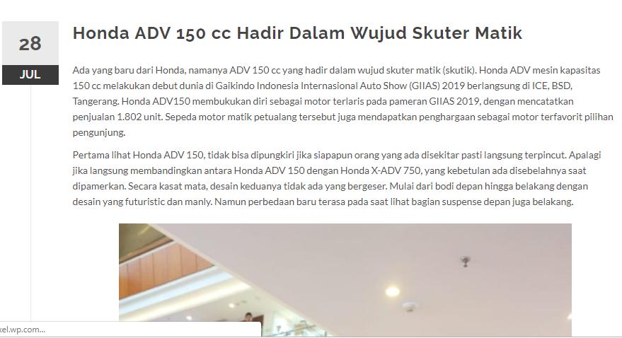 Honda ADV 150 cc Hadir Dalam Wujud Skuter Matik