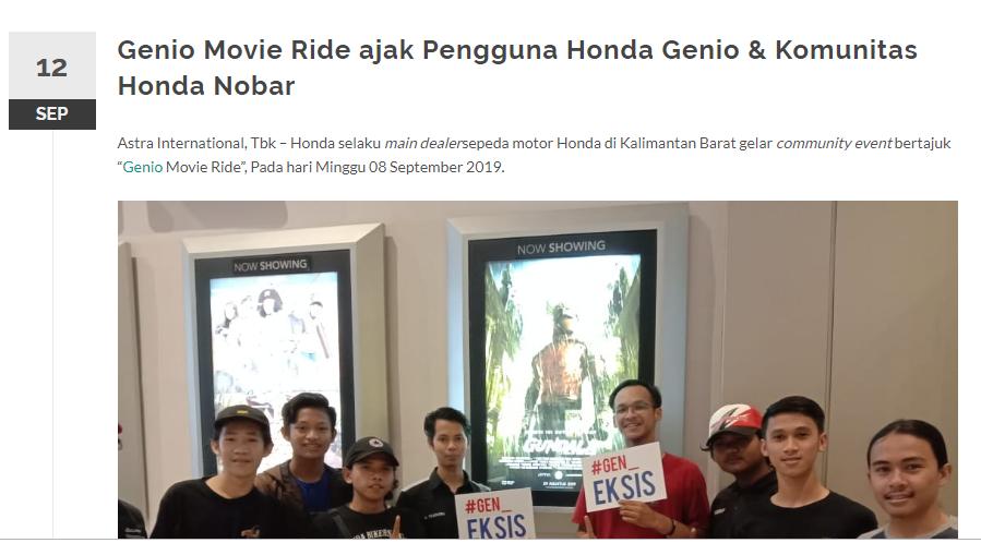 Genio Movie Ride ajak Pengguna Honda Genio & Komunitas Honda Nobar
