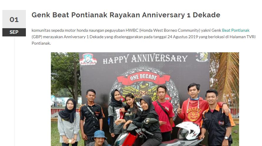 Genk Beat Pontianak Rayakan Anniversary 1 Dekade