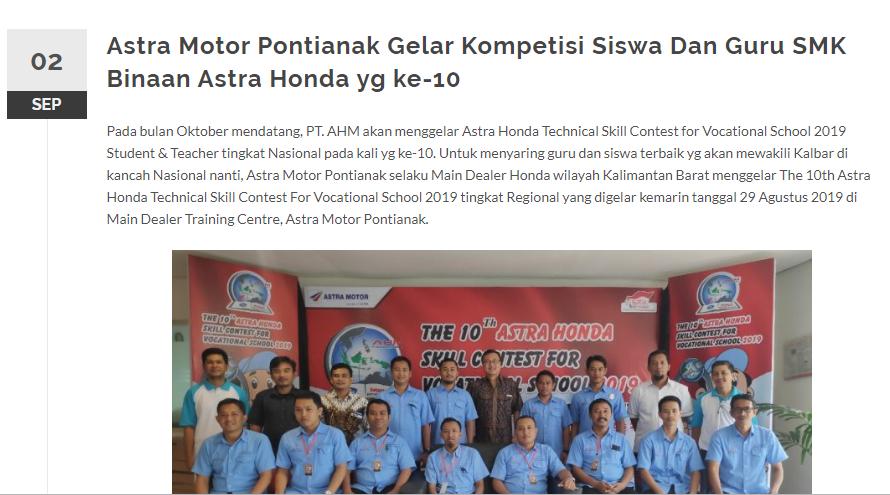 Motor Pontianak Gelar Kompetisi Siswa Dan Guru SMK Binaan Astra Honda yg ke-10