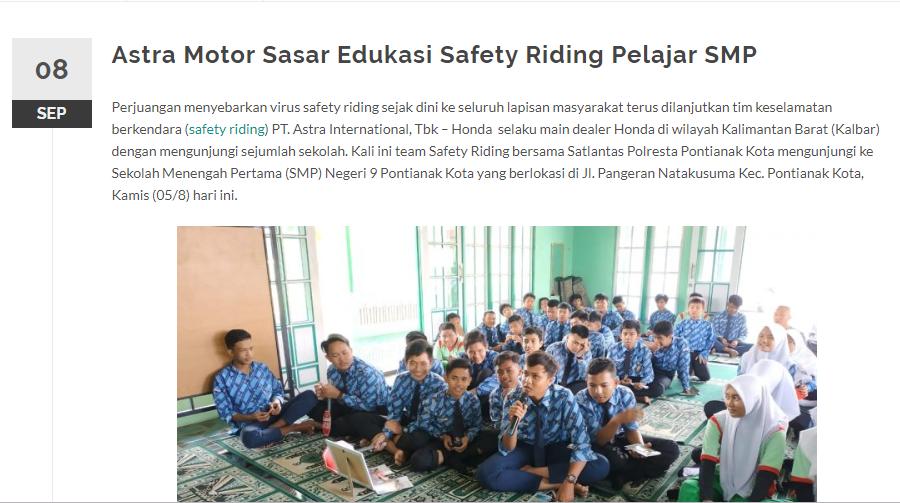 Astra Motor Sasar Edukasi Safety Riding Pelajar SMP