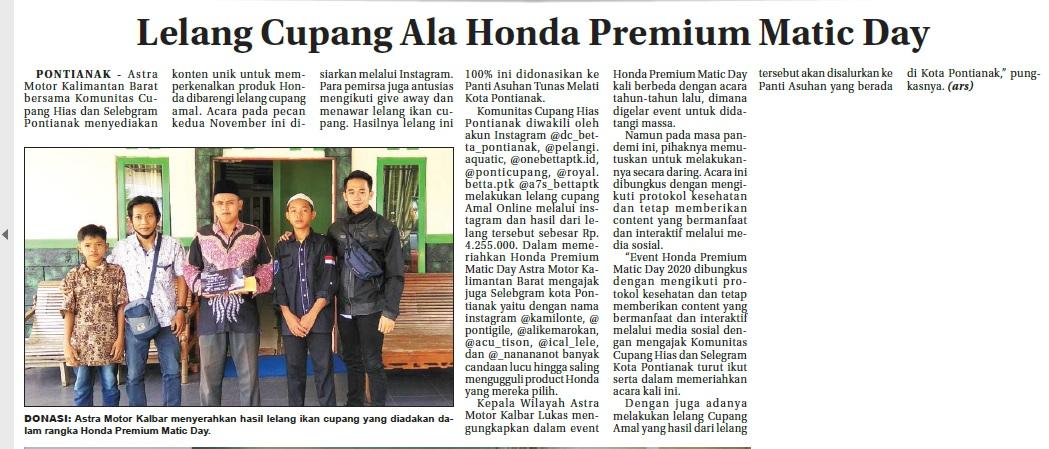 PP 18 NOV - Lelang Cupang Ala Honda Premium Matic Day