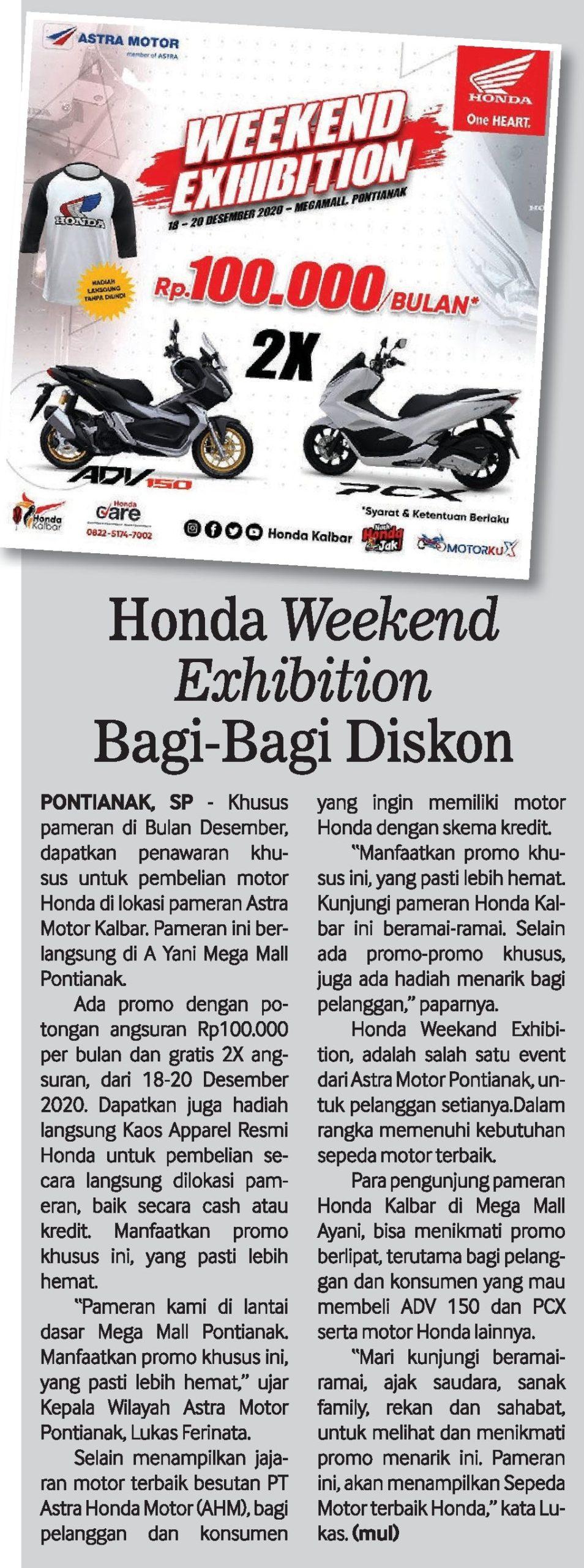HONDA WEEKEND EXHIBITION BAGI BAGI DISKON