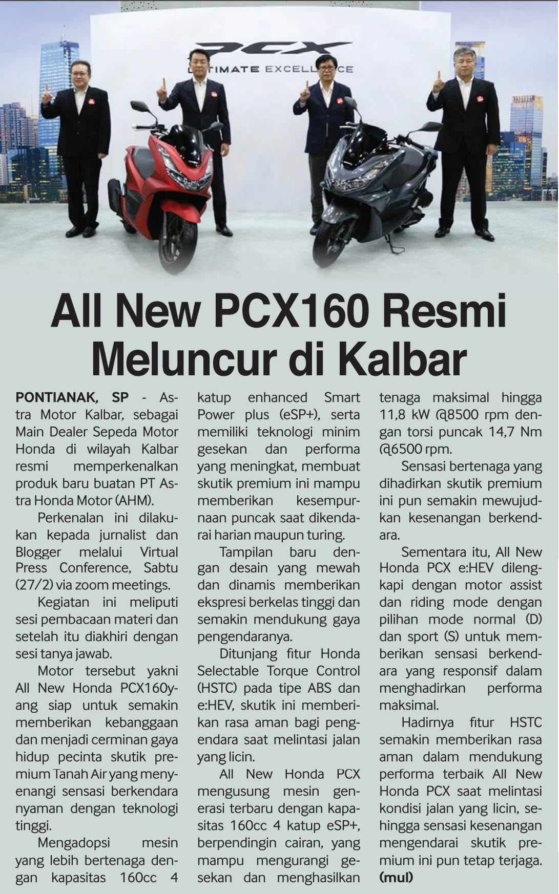 01 mar 2021 All New Honda PCX160 Resmu Meluncur di Kalbar