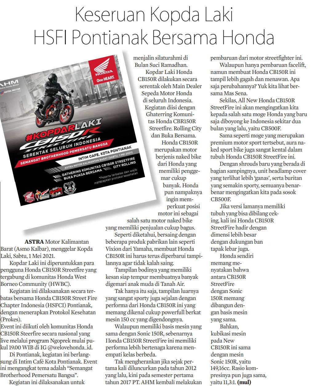 03 mei 2021 Keseruan Kopda Laki HSFI Pontianak Bersama Honda Kalbar