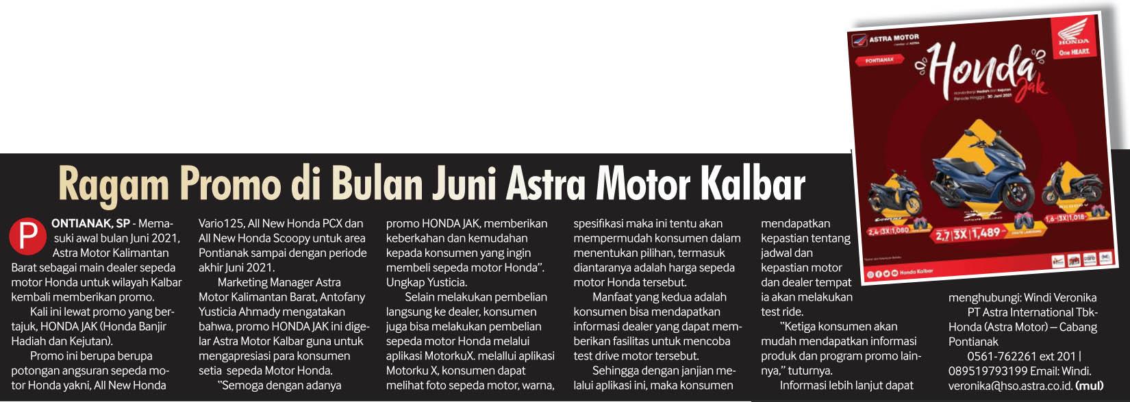 08 juni 2021 Ragam Promo di Bulan Juni Astra Motor Kalbar